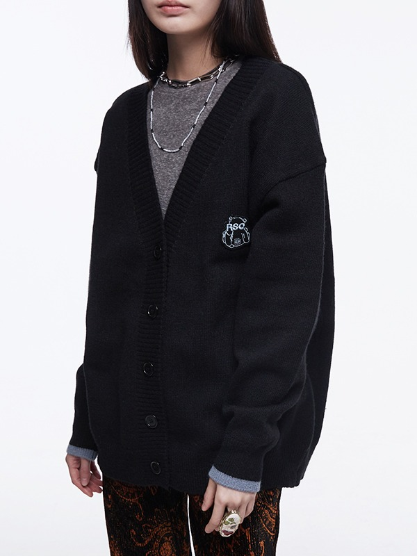 [NEW10%] TWO-TONE CARDIGAN - black