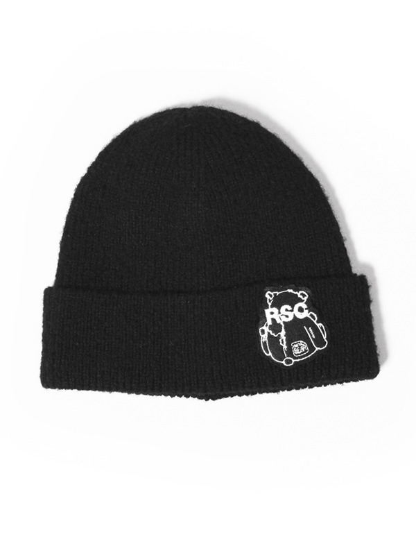 BEAR PATCH BEANIE - BK