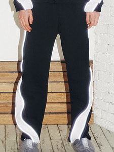 [50%SALE]Lighting logo jersey pants -BK