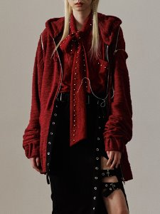Lace up hood zip up - RED