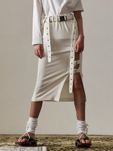 Buckle slit skirt - WH