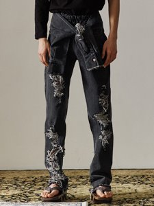 Tie damage denim pants - BK DE
