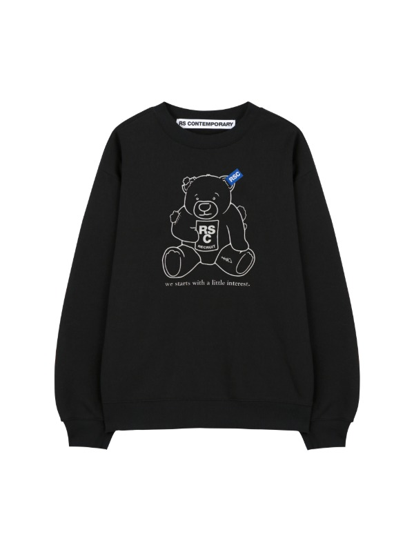 [LIMITED][10%SALE] CLUMSY BEAR SWEATSHIRT - BLACK (기모)