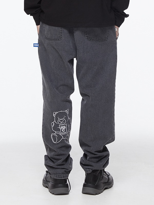 ⏰Pre-order⏰ CALF BEAR DENIM BANDING PANTS - black