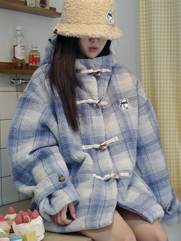 BEAR PATCH CHECK DUMBLE JACKET - sky blue