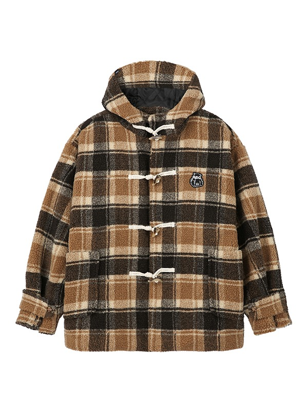 BEAR PATCH CHECK DUMBLE JACKET - beige