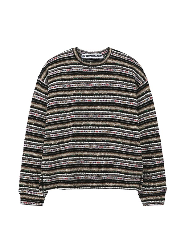 [NEW 10%] NOISE STRIPE SWEATER -multi black