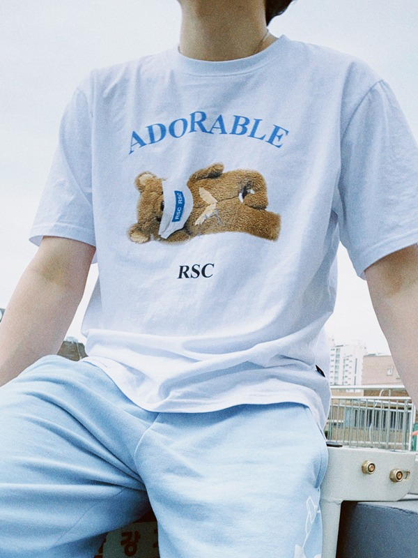ADORABLE BEAR BASIC T SHIRT - WH