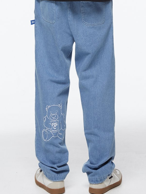 CALF BEAR DENIM BANDING PANTS - light denim