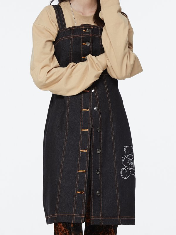 CALF BEAR BUTTON DENIM DRESS - Black
