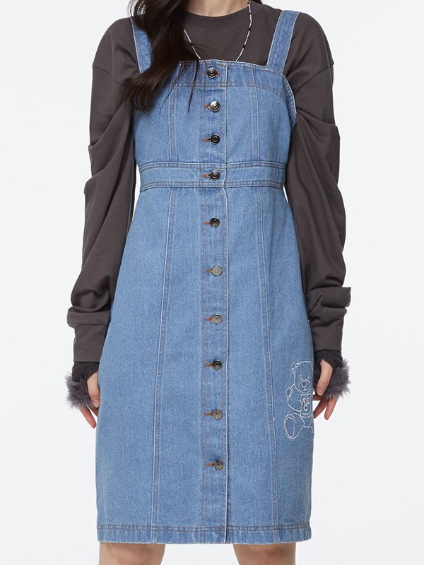 CALF BEAR BUTTON DENIM DRESS - Light denim