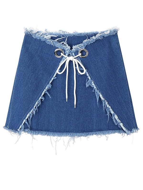 PUNCHING STRAP DENIM SKIRT - BL